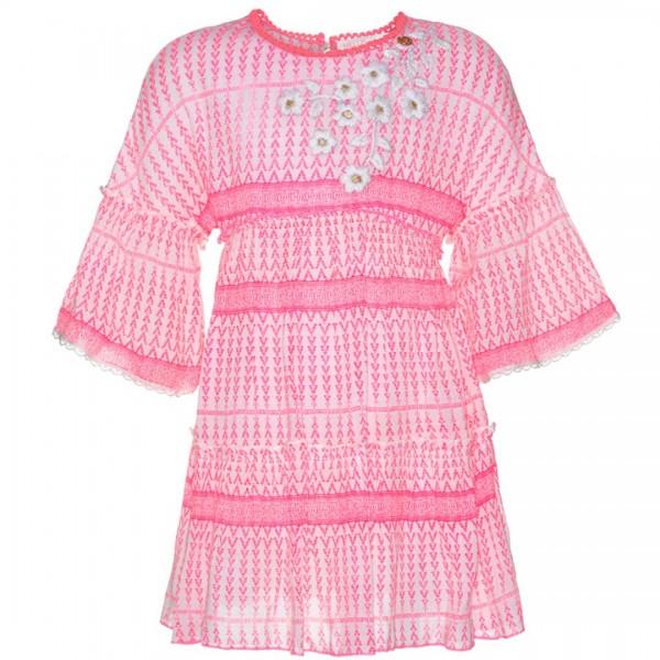 mim-pi pinkfarbenes Kleid mit weißen, gestickten Blumen