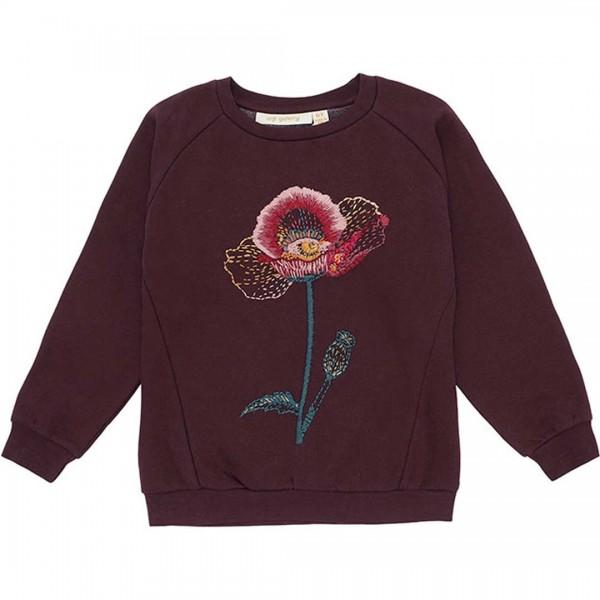 soft gallery Sweatshirt Babs in tiefem burgunder Ton und handbestickten Blumen-Applikationen