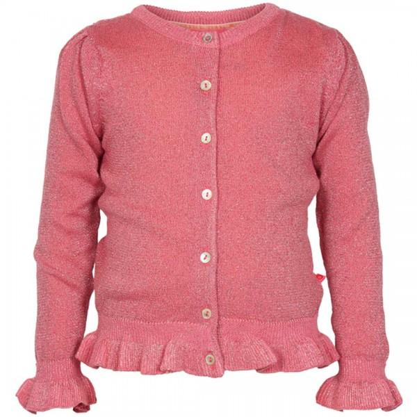 LEBIG pinkfarbene Strickjacke mit Lurex und Rüschchen-Bündchen