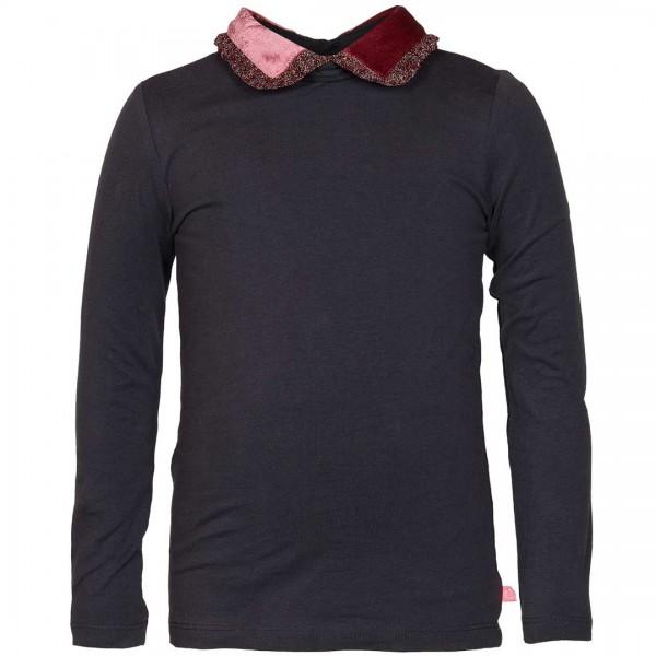 LE BIG Shirt Oliva in anthrazit mit samtigen Kragen und Glitzer-Volants