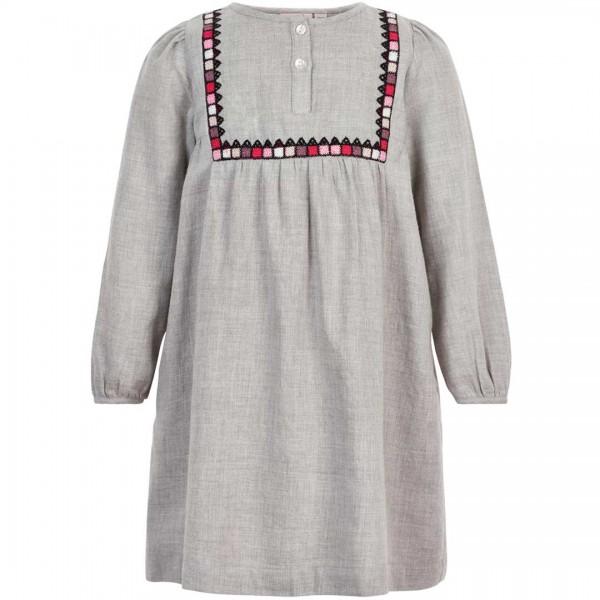NOA NOA miniature Kleid Facade in grau mit Häuser-Bordüre