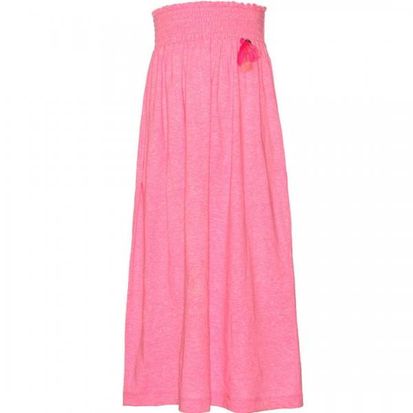 mim-pi langer pinkfarbener Rock mit knallpinken Federn