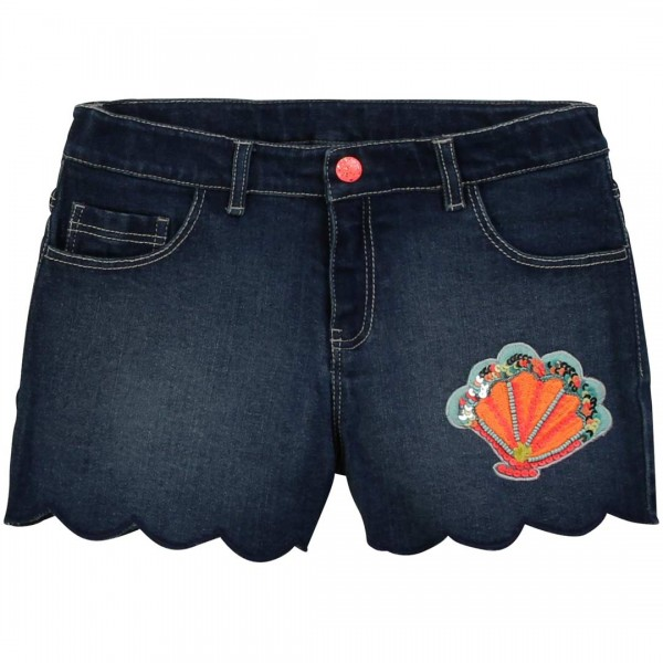 Billieblush Jeans Shorts in Form von Jakobsmuscheln mit Applikation aus Pailletten und Perlen.