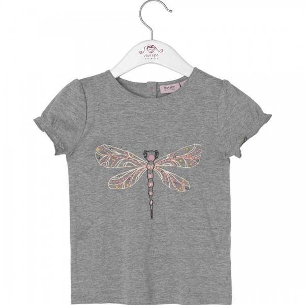 noa noa miniature graues T-Shirt mit Insektenmotiv
