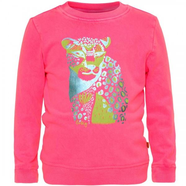 LE BIG Sweatshirt Polly in pink mit metallischem Wildtier-Aufdruck