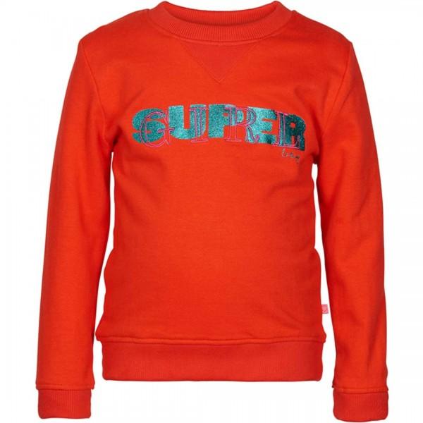 LE BIG Sweatshirt Paz in rot mit glitzerndem Supergirl-Schriftzug
