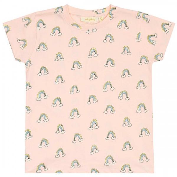 "soft gallery rosa T-Shirt ""Pilou"" mit Regenbogen"