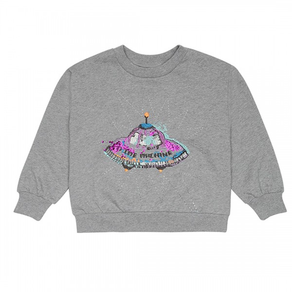 soft gallery Sweatshirt Drew time machine / Grey Melange, Spaceship Emb.