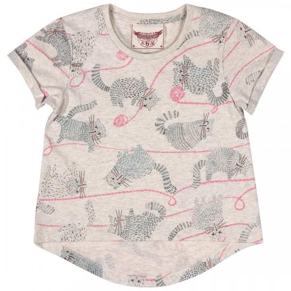 Paper Wings T-Shirt beige melliert und Katzen-Print