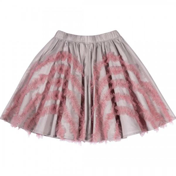 Paper Wings Schwingrock in grau mit rosa Punkten und Tüllapplikationen