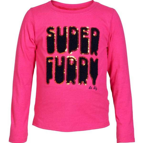 LE BIG pinkes Longsleeve Trish mit fröhlichem Schriftzug super furry - tulpenkinder.com