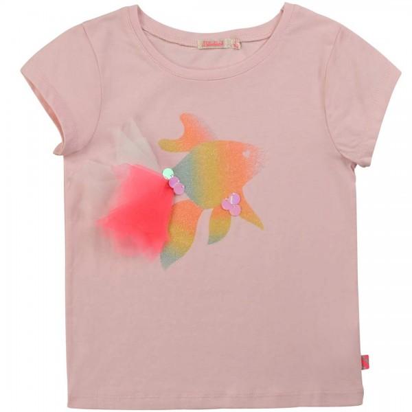 Billieblush rosa Jersey T-Shirt mit einem bezaubernden Regenbogen-Fischdruck mit Glitzer und Tüll-Flossen