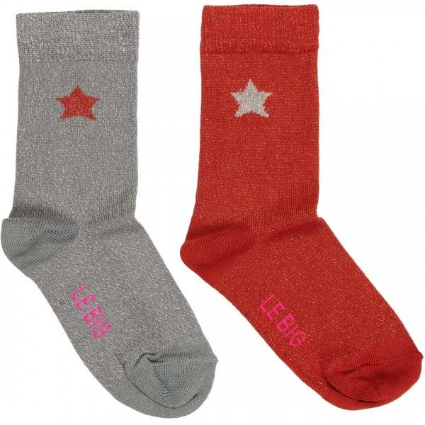 LE BIG Socken Tanielle 2er-Pack aus Baumwolle in Bio-Qualität in den Farben grau und rot mit Lurex