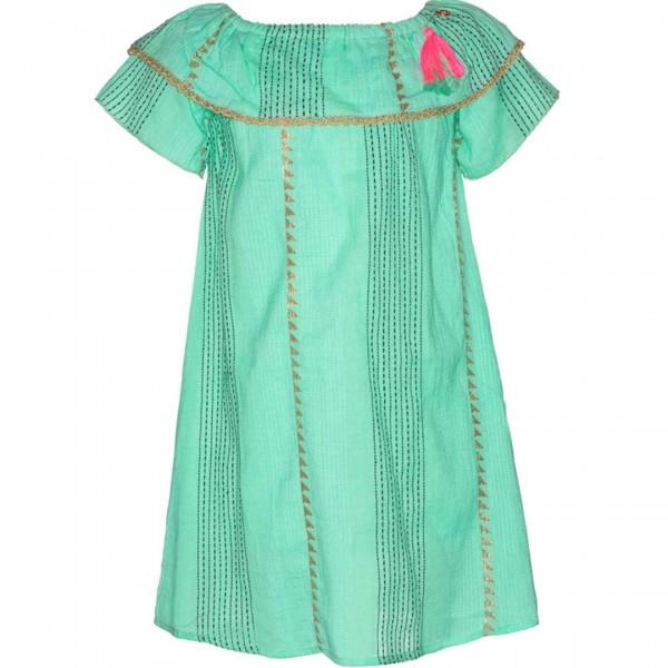 mim-pi Kleid in mintgrün mit goldenen Akzenten