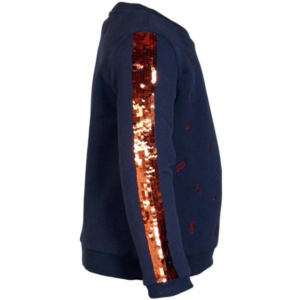 LE BIG Sweatshirt Tabia mit bestickten Noten und Pailletten-Streifen - tulpenkinder.com