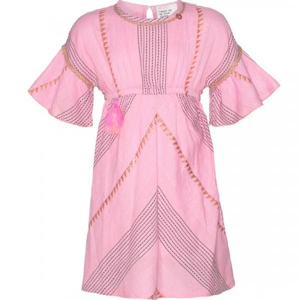 mim-pi rosafarbenes Kleid mit Schmetterlingsärmeln und goldfarbenen Akzenten