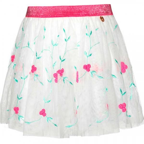 mim-pi weißer Tüllrock mit aufgestickten Blumen und einem knallpinken Taillenband.