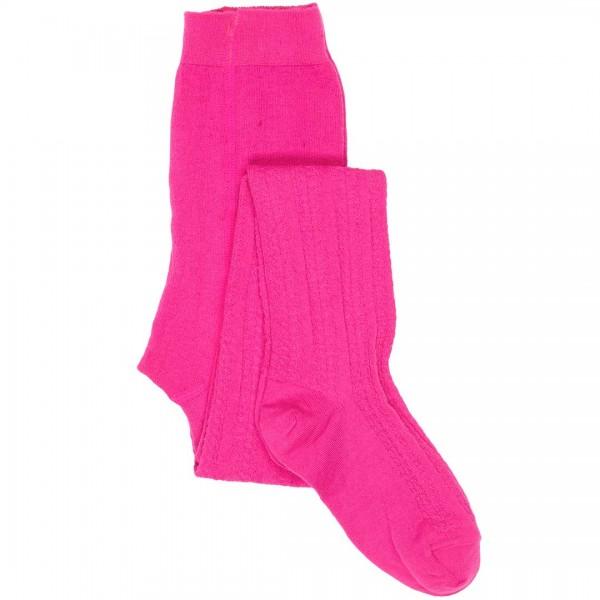 LE BIG Strumpfhose Pamela in pink mit Zopfmuster aus Baumwolle in Bio-Qualität