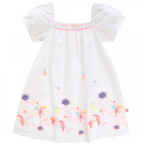 Billieblush weißes Baumwoll-Kleid mit kurzen weiten Ärmeln und zauberhaften, mehrfarbigen Stickereien.