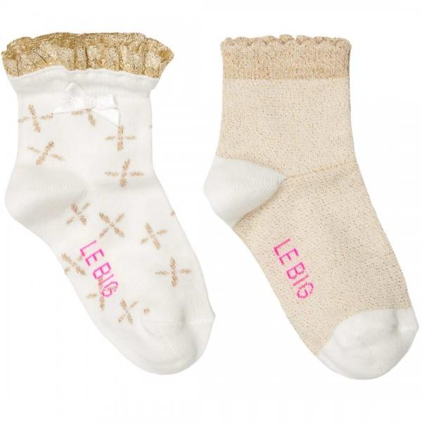 LEBIG Set aus 2 Paar Socken im festlichen goldenen Design - tulpenkinder.com
