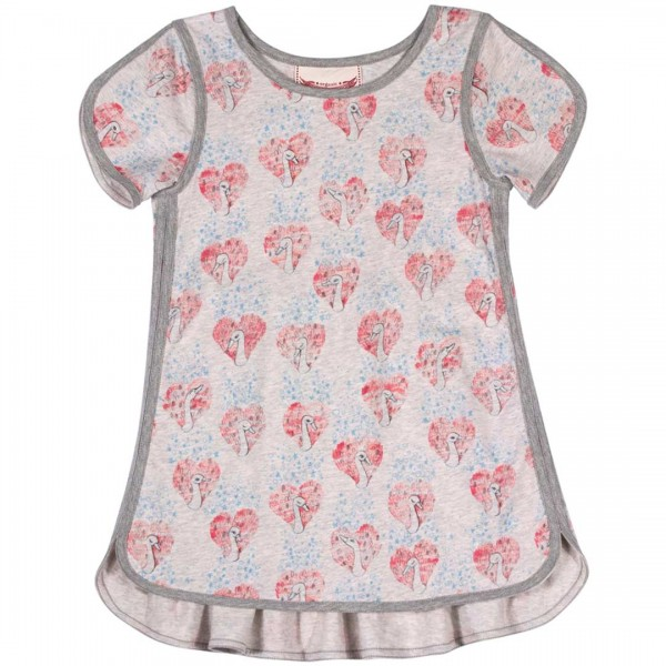 Paper Wings Kleid in grau mit Schwanen-Print und geraffter Rückenpartie