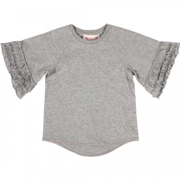 Paper Wings graues Shirt mit gekräuselten Ärmeln