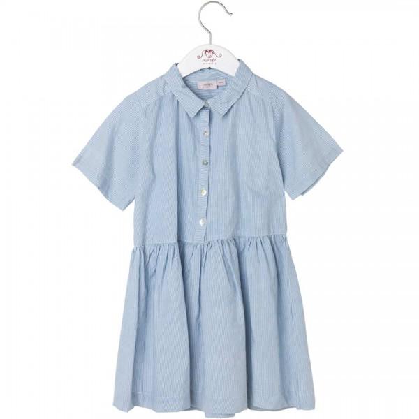 NOA NOA Kleid Boltoni mit dekorativem Kragen, blau-weiß gestreift und Marmorknopfleiste vorn - tulpenkinder.com