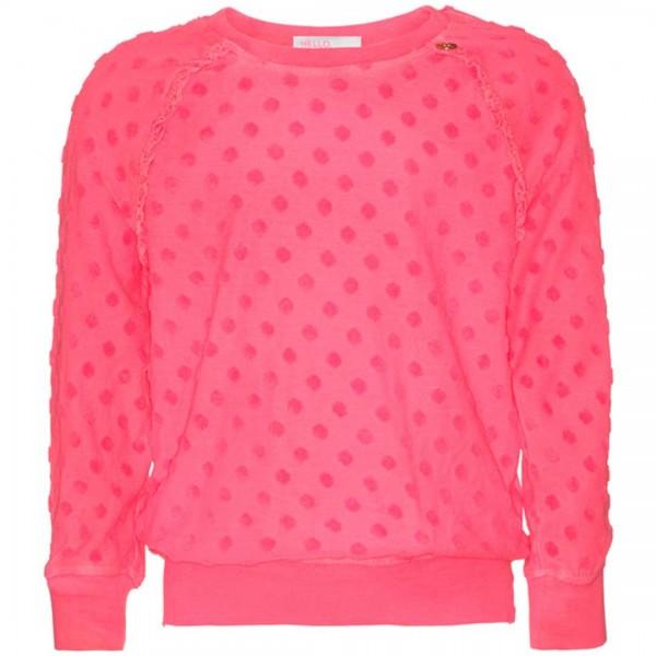 mim-pi pinkes Sweatshirt mit Spitzenrand