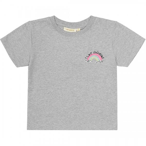 soft gallery T-Shirt Dominique in Light Grey Melange, Rainbow Mini Applikation