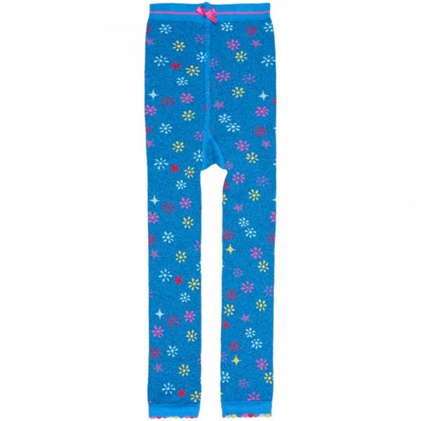 LEBIG Legging Nila in blau mit Blümchenmuster und Glitzerfaden - tulpenkinder.com