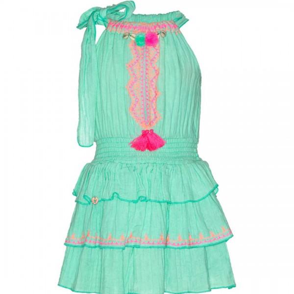 mim-pi ärmelloses, türkisfarbenes Kleid mit pinkfarbenen Federn und Zierband