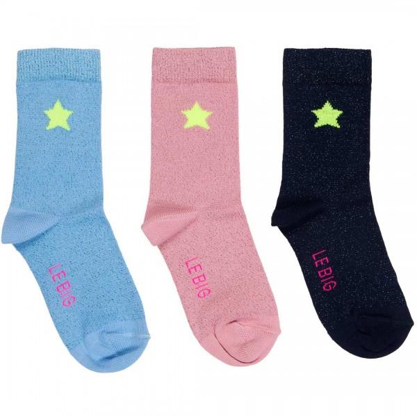 LEBIG Socken Tamela in klassischen Farben und Glitzer-Faden im 3er-Pack