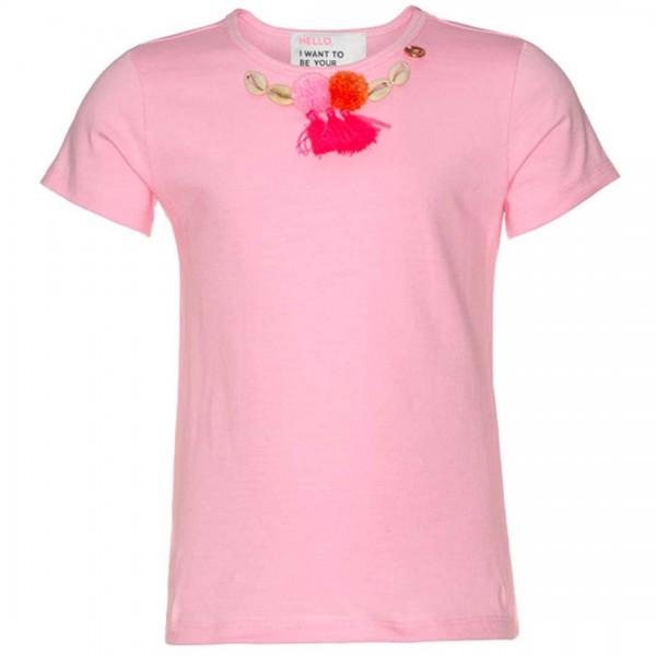 mim-pi rosafarbenes T-Shirt mit kurzen Ärmeln, Muscheln, Bommeln und Federn