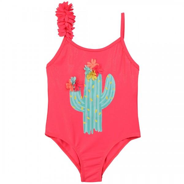 Billieblush Glitzernder Badeanzug in einem sagenhaften Koralle-Ton mit frechen Fransen an den verstellbaren Träger. Ausgefallener Kaktus-Aufdruck mit Blumen Applikation: Absolut tropical!