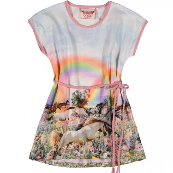 Paper Wings Kleid mit geflochtenem Gürtel und Regenbogen-Pferde